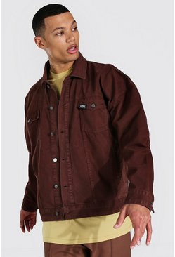 Brown Tall Oversized Official Overdyed Denim Jacket