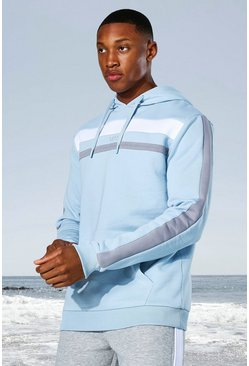 Pale blue blue Man Active Colour Block Panel Hoodie