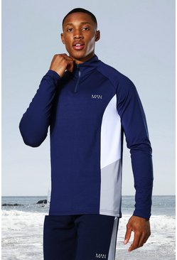 Navy Man Active Raglan Side Block ¼ Zip Top