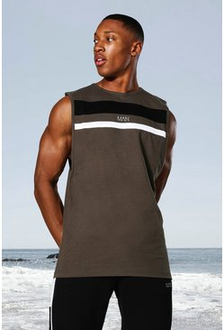 Khaki Man Active Colour Block Panel Vest