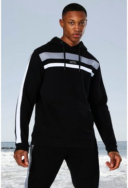 Black Man Active Colour Block Panel Hoodie