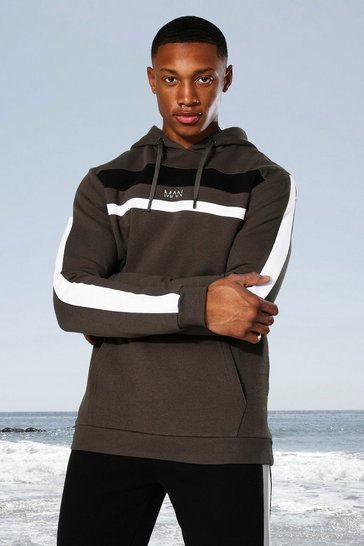 Khaki Man Active Colour Block Panel Hoodie