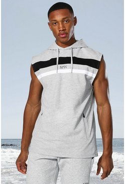 Grey marl grey Man Active Colour Block Sleeveless Hoodie