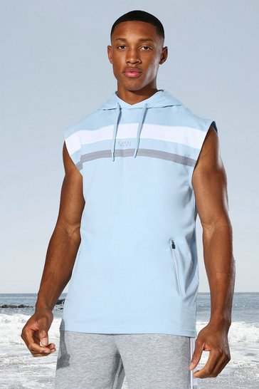Pale blue blue Man Active Colour Block Sleeveless Hoodie