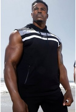 Black Man Active Colour Block Sleeveless Hoodie