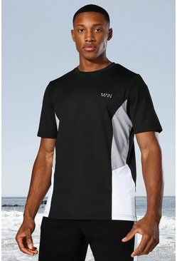 Black Man Active Raglan Side Block T-shirt