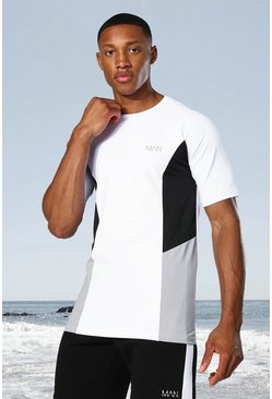 White Man Active Raglan Side Block T-shirt