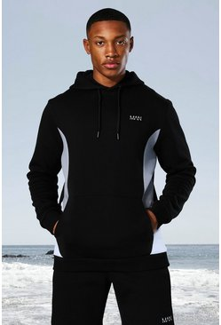 Black Man Active Side Block Hoodie