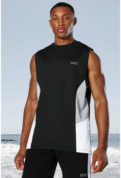 Man Active Side Block Tank, Black nero