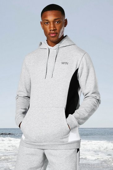 Grey marl grey Man Active Side Block Hoodie