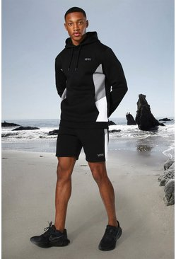 Black Man Active Side Block Hoodie And Short Set