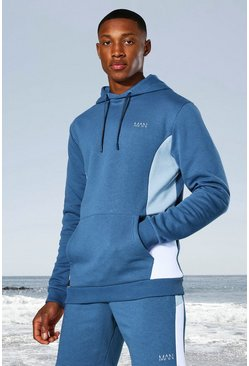 Dusty blue blue Man Active Side Block Hoodie