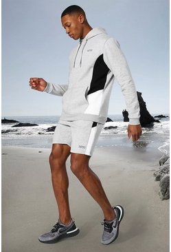 Grey marl grey Man Active Side Block Hoodie And Short Set