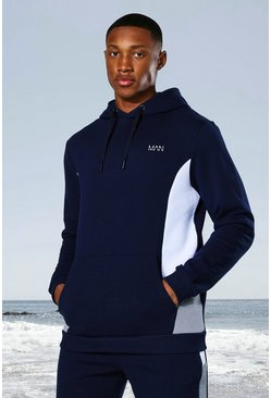 Navy Man Active Side Block Hoodie