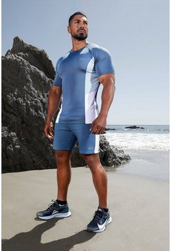 Short color block sur le côté - MAN Active, Dusty blue bleu