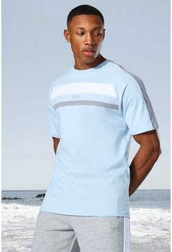 Pale blue blue Man Active Colour Block Panel T-shirt