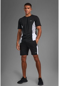 T-shirt color block et short - MAN Active, Black noir