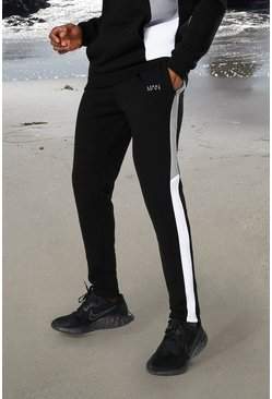 Black Man Active Side Block Skinny Jogger