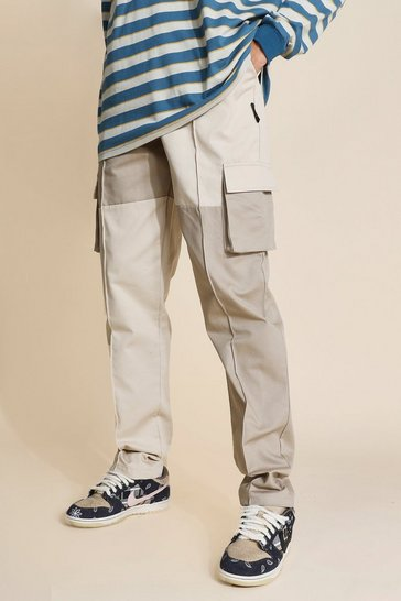 Stone beige Tall Regular Patchwork Twill Cargo Trousers