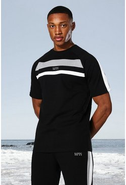 Black Man Active Colour Block Panel T-shirt