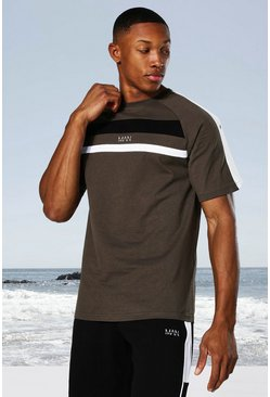 Khaki Man Active Colour Block Panel T-shirt