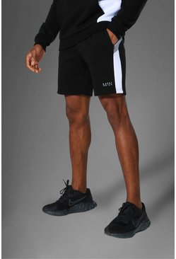 Black svart MAN Active Shorts med blockfärger