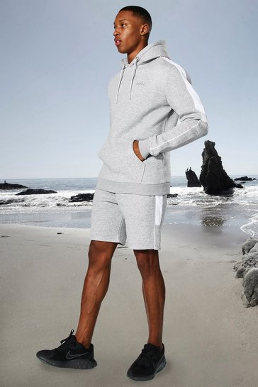 Grey marl grey Man Active Side Stripe Hoodie And Short Set