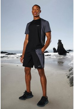 Black Man Active Tonal Colour Block Tee And Shorts