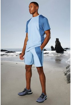 Dusty blue blue Man Active Tonal Colour Block Tee And Shorts