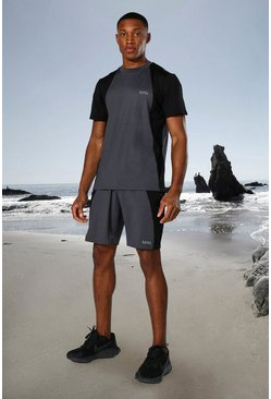 Charcoal grey Man Active Tonal Colour Block Tee And Shorts