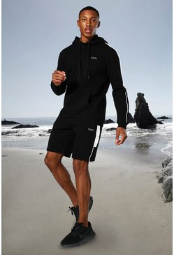 Black Man Active Side Stripe Hoodie And Short Set