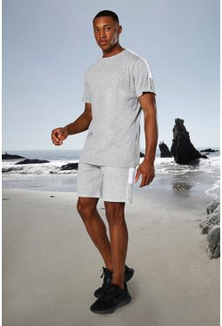 Grey marl grey Man Active Side Stripe T Shirt And Short Set