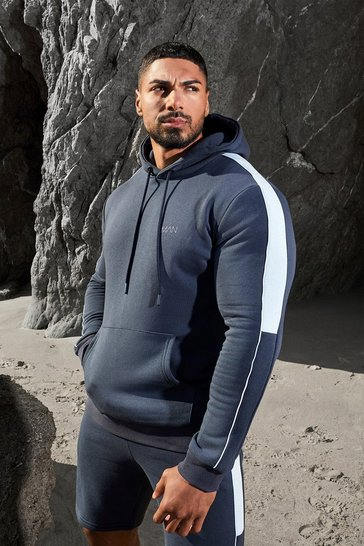 Navy Man Active Side Stripe Hoodie And Short Set