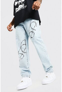 Ice blue Plus Size Straight Leg Barbed Wire Print Jean
