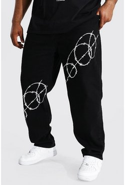 Black Plus Size Straight Leg Barbed Wire Print Jean