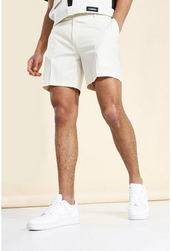 Stone beige Man Badge Fixed Waistband Shorts