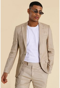 Linen Single Breasted Suit Jacket, Taupe beis