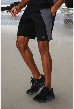 Black Man Active Tonal Colour Block Short