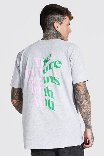 Grey marl grey Oversized The Futures With You Slogan T-shirt