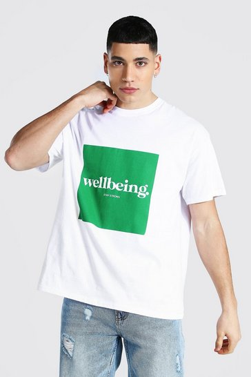 White Oversized Wellbeing Box Print T-shirt