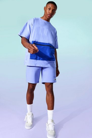 Cobalt blue Nylon Contrast Zip Jersey Tee And Short Set