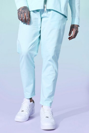 Blue Twill Tapered Elasticated Trousers