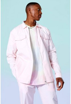 Pink rosa Twill Relaxed Overshirt