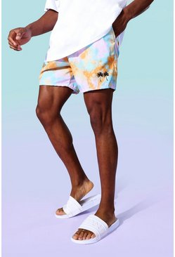 Multi Tie Dye Palm Mid Length Swim Shorts