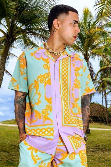 Multi Short Sleeve Baroque Revere Oversized Shirt