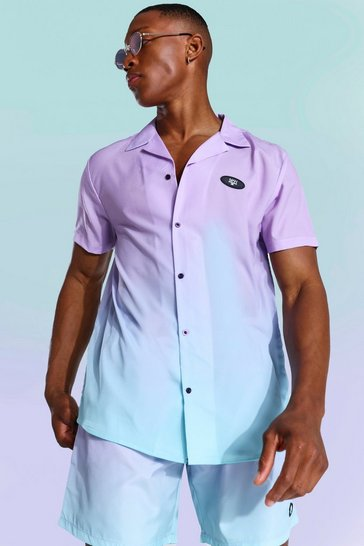 Lilac purple Short Sleeve Ombre Revere Shirt
