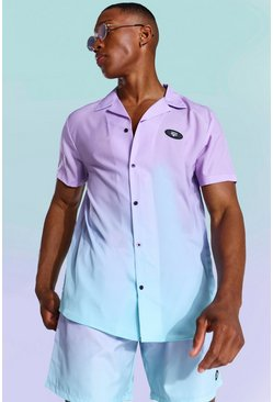 Lilac Ombre Revere Shirt And Swim Shorts