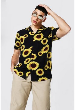 Short Sleeve Revere Viscose Sunflower Shirt, Black Чёрный