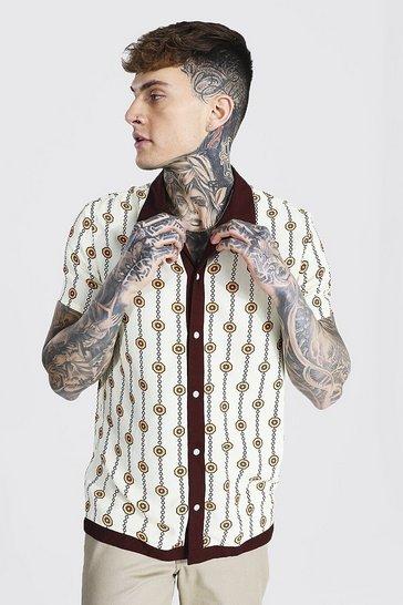 Chocolate brown Short Sleeve Revere Viscose Chain Print Shirt