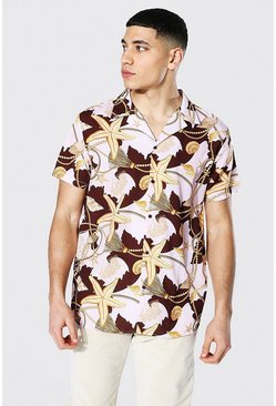 Short Sleeve Revere Shell Print Shirt, Chocolate marrón